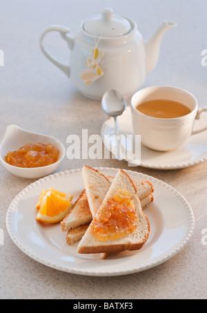toast with marmalade - Stock Photo