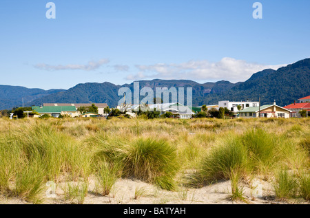 Town viewed from the beach Collingwood South Island New Zealand - Stock Photo