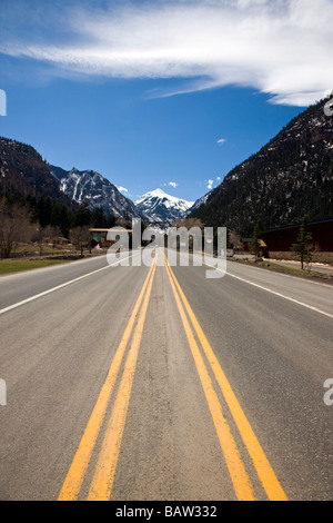 View of Highway 550 the Million Dollar Highway leading into the town of Ouray Colorado USA - Stock Photo