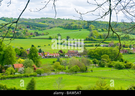 Turville Heath , panorama of Skirmett with fields , meadows & the rolling Chiltern Hills covered in trees - Stock Photo