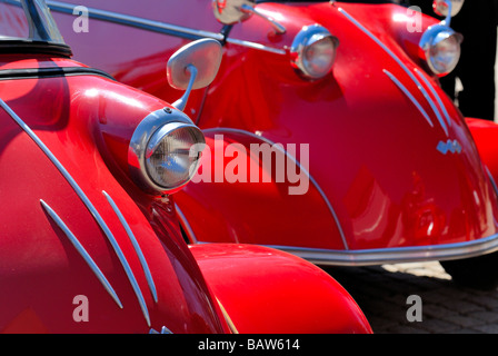 Two Messerschmitt KR200 microcars after May Day joy ride parked in the Kaivopuisto park, Helsinki. The only carnival - Stock Photo