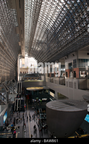 The interior of the futuristic Kyoto Station, Kyoto, Kansai, Honshu, Japan - Stock Photo