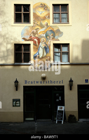 Bratwurstherzl restaurant and bar, Munich, Upper Bavaria, Germany, Europe - Stock Photo