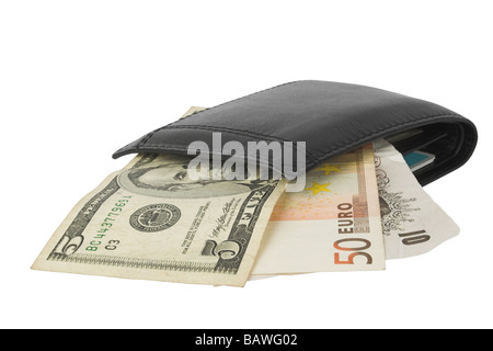 currency notes in wallet - Stock Photo