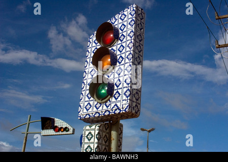 Traffic light made in the traditional Portuguese blue tiles style from the 17th century Sao Luis Maranhao Brazil - Stock Photo