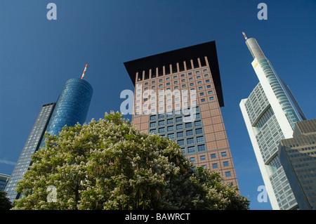 Frankfurt / Main, Main Tower, Japan Center, Commerzbank - Stock Photo