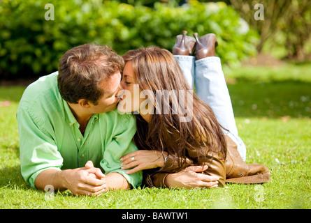 couple portrait kissing - Stock Photo