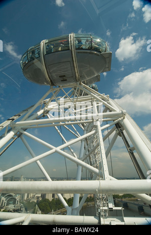 London Eye on the Southbank beside the river Thames London England UK - Stock Photo