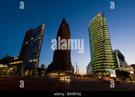 Skyscrapers of Potsdamer Platz  Skyscrapers in Potsdamer Platz, from left to right: Renzo Piano's Debis Tower (aka. - Stock Photo