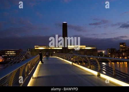 Millennium Bridge and Tate Modern - Stock Photo