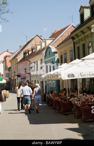 Cafes Along Radiceva, a Bustling Street in the Old Town - Stock Photo