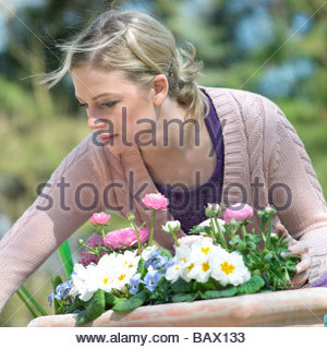 woman working in the garden - Stock Photo