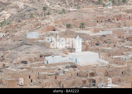 Toujane mountain village in the South Jebel Dahar Region mosque Tunisia - Stock Photo