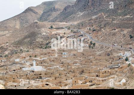 Toujane mountain village in the South Jebel Dahar Region Tunisia - Stock Photo