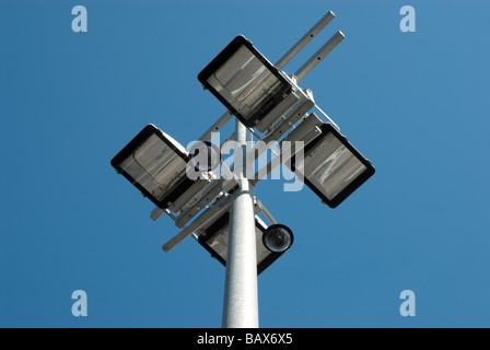 CCTV and security lighting on post at Wembley Stadium - Stock Photo