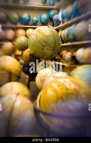 World Globes in Shop Barcelona Catalunya Spain - Stock Photo