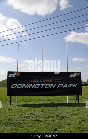 'Welcome to Donington Park' sign at the entrance to the Motor Racing Circuit in the East Midlands, Leicestershire. - Stock Photo
