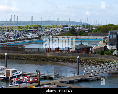 Lymington sea water swimming pool Hampshire UK - Stock Photo