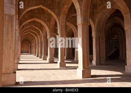 Inside the Jama Masjid or Friday Mosque in the Ruins of Mandu India - Stock Photo