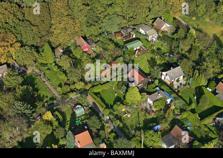 aerial overhead view of small allotment gardens or Schrebergaerten in Hanover, Lower Saxony, northern Germany - Stock Photo