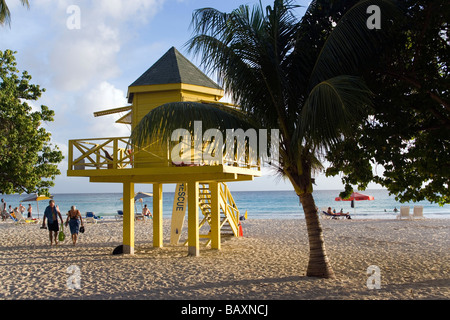 Watch tower at Accra Beach, Rockley, Barbados, Caribbean - Stock Photo
