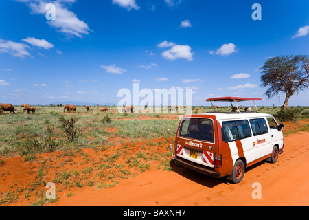 Tourists in a safari bus watching family of African Bush Elephants in savannah, Tsavo East National Park, Coast, - Stock Photo