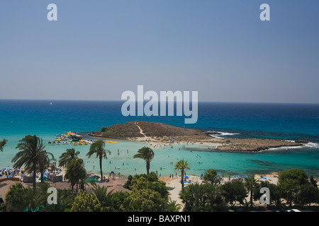 View of Nissi Beach, Agia Napa, South Cyprus, Cyprus - Stock Photo