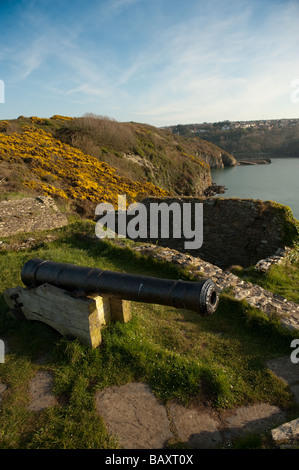 An old cannon at Fishguard Fort Pembrokeshire Coast National Park Wales UK - Stock Photo