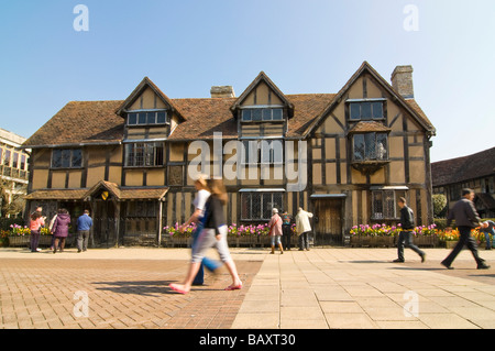 Horizontal wide angle of the old timber framed tudor house, Shakespeare's birthplace, on Henley Street on a bright - Stock Photo
