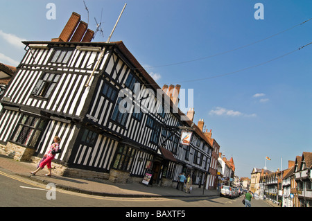 Horizontal wide angle of the historic Tudor buildings on Chapel Street on a bright sunny day - Stock Photo