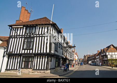 Horizontal wide angle of Nash's House and the historic Tudor buildings on Chapel Street on a bright sunny day - Stock Photo