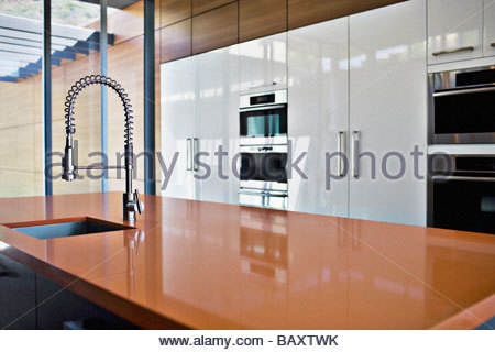 Modern Kitchen; Interior Of Modern Kitchen With Spray Nozzle   Stock Photo