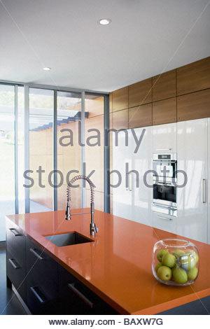 Interior Of Modern Kitchen Stock Photo.
