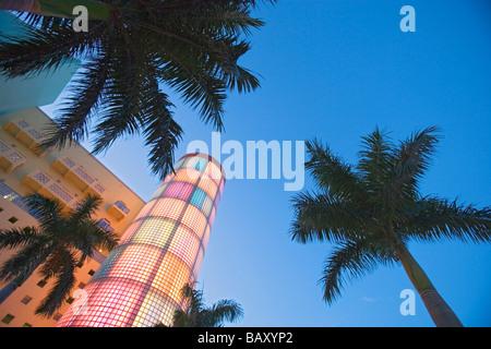 Art deco building on Washington Avenue, Miami Beach, Florida, USA - Stock Photo