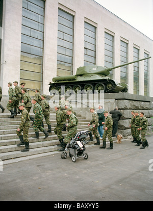 Soldiers climbing stairs in front of the Central Armed Forces Museum, Moscow, Russia - Stock Photo