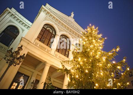 Illuminated Christmas tree in front of the state theater at Gaertnerplatz, Munich, Bavaria, Germany - Stock Photo