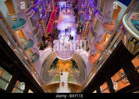 View from Deck 10 onto Royal Promenade, Freedom of the Seas Cruise Ship, Royal Caribbean International Cruise Line - Stock Photo