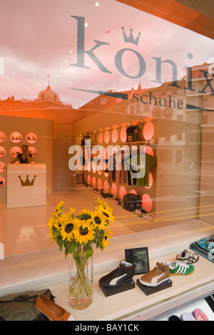 View through the shop window into the exclusive shoe shop of shoe designer Koenix, Zurich, Canton Zurich, Switzerland - Stock Photo