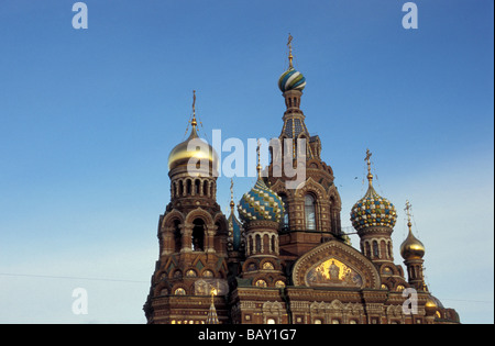The richly decorated onion domes of the church of the Savior on Blood, St. Petersburg, Russia - Stock Photo