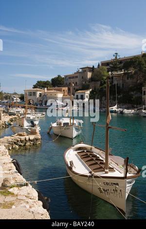 Fishing Boats at Cala Figuera Cove, Cala Figuera, Mallorca, Balearic Islands, Spain - Stock Photo