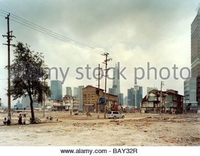 Demolition district. Longtangs, houses are being demolished to make way for new buildings, Urban development, Yangshuo - Stock Photo