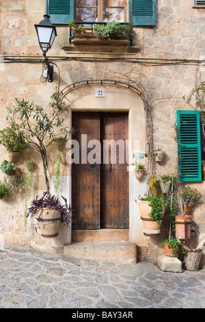 Doorway, Valldemossa, Mallorca, Balearic Islands, Spain - Stock Photo