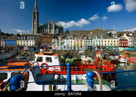 Town centre and harbour in Cobh, County Cork, Ireland, Europe - Stock Photo