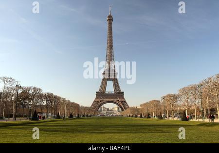 Eiffel Tower and Parc du Champs de Mars, Paris, France - Stock Photo