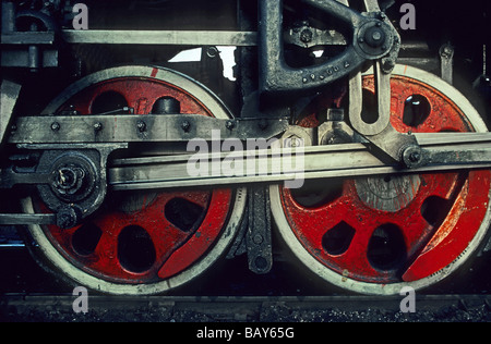 close-up of two steam train wheels, China - Stock Photo