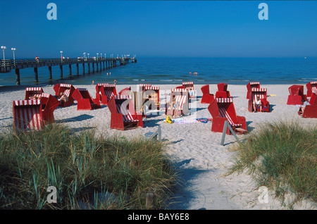 Beach Chairs on the beach of Ostseebad Binz, Ruegen, Mecklenburg-Western Pomerania, Germany - Stock Photo