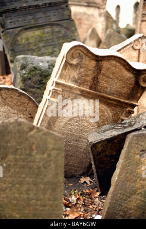 Gravestones in an old Jewish Cemetery, Josefov, Prague, Czech Republic - Stock Photo