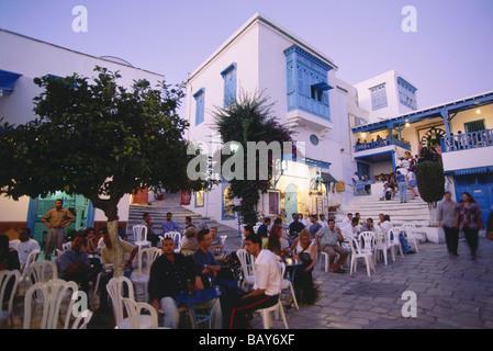 Street cafes in Sidi Bou Said, Tunesia - Stock Photo