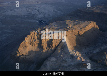 Aerial view of Masada, ancient palaces and fortifications on the top of an isolated rock plateau, Israel - Stock Photo