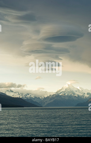 Dramatic clouds over Mt Cook and Lake Pukaki South Island New Zealand - Stock Photo